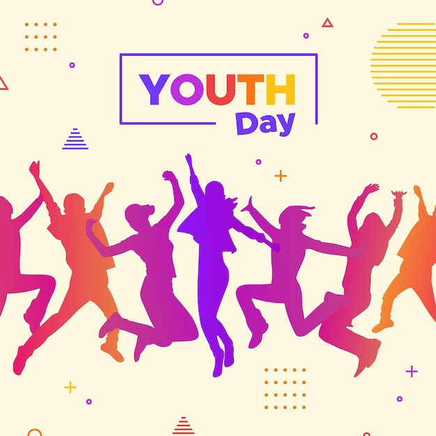 Youth day - jumping people silhouettes Free Vector