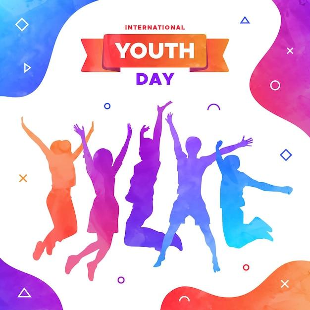 Giornata della gioventù - saltare sagome di persone Vettore gratuito