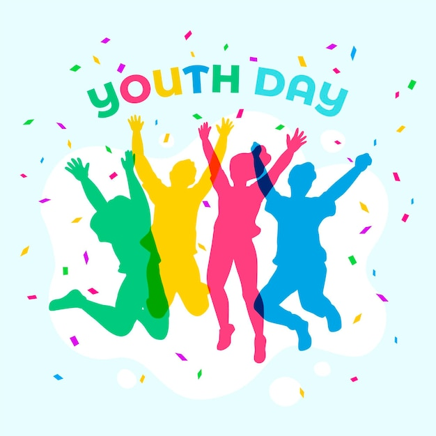 Youth day jumping people silhouettes Free Vector