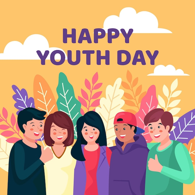 Youth day people hugging Free Vector