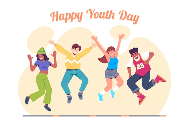 Youth day people jumping theme Free Vector