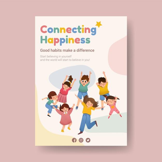 전단지에 대한 청소년 포스터 템플릿 디자인 및 수채화 광고 무료 벡터