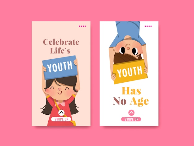 Youth day template design for international youth day, social media, watercolor Free Vector