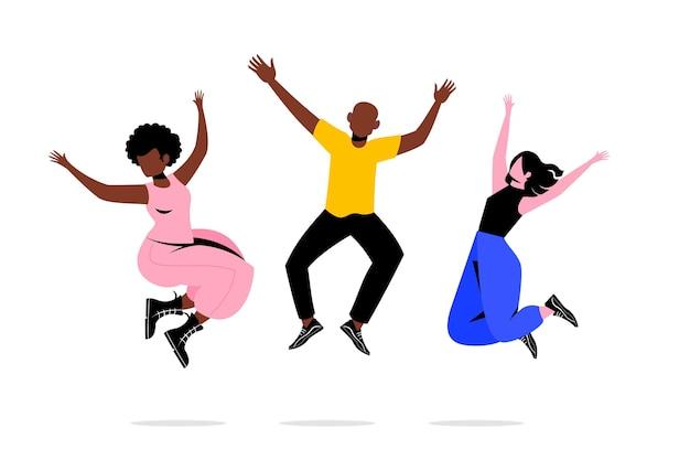День молодежи с прыгающими людьми Бесплатные векторы
