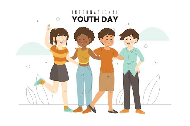 若い人たちが抱き合う青年の日 無料ベクター
