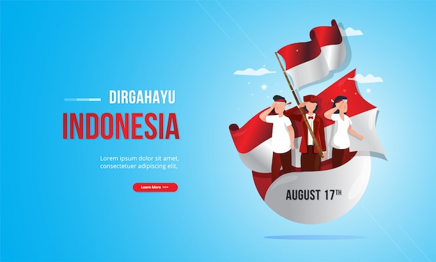 Youth patriotic illustration with red and white flag for indonesia independence day concept Premium Vector