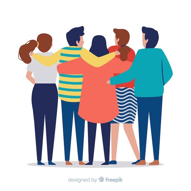Youth people hugging together background Free Vector