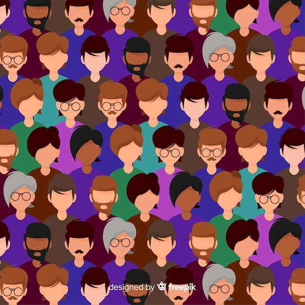 Youth people pattern flat design Free Vector