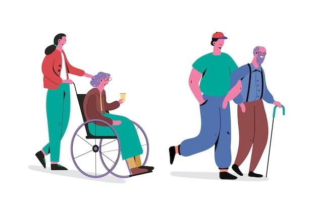 Giovani che si prendono cura e aiutano gli anziani Vettore gratuito