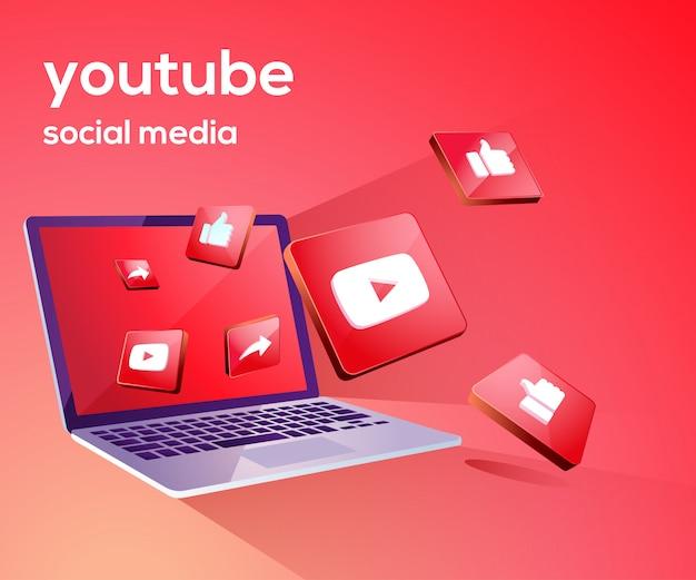 Youtube 3d social media iicon with laptop dekstop Premium Vector