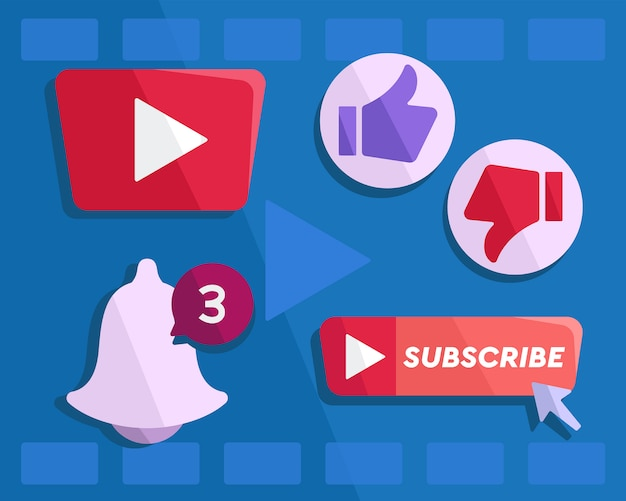 Youtube button vector Premium Vector