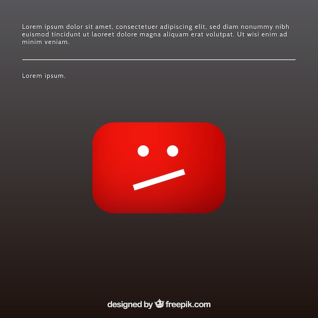 Youtube error message with flat design Free Vector