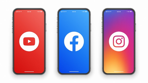 Youtube facebook instagramロゴon phone screen Premiumベクター