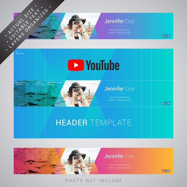 Youtube header template Premium Vector