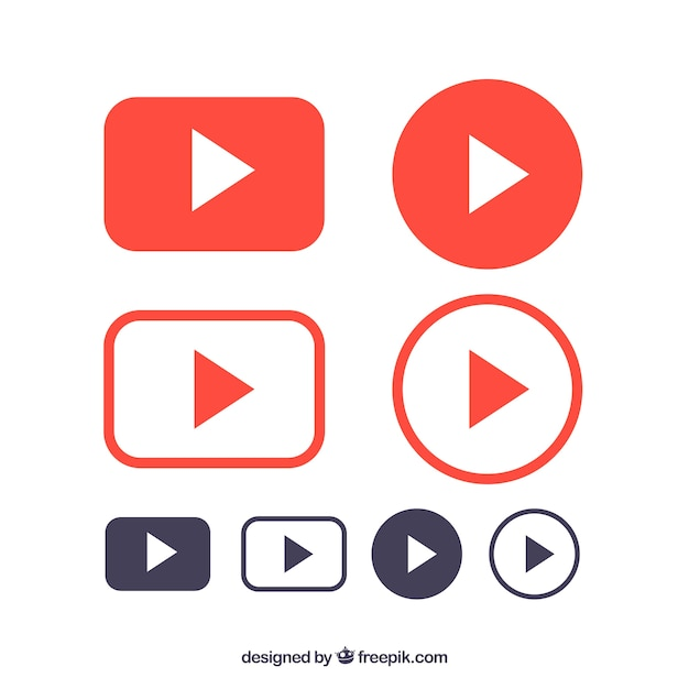 Youtube logo collection with flat design Free Vector