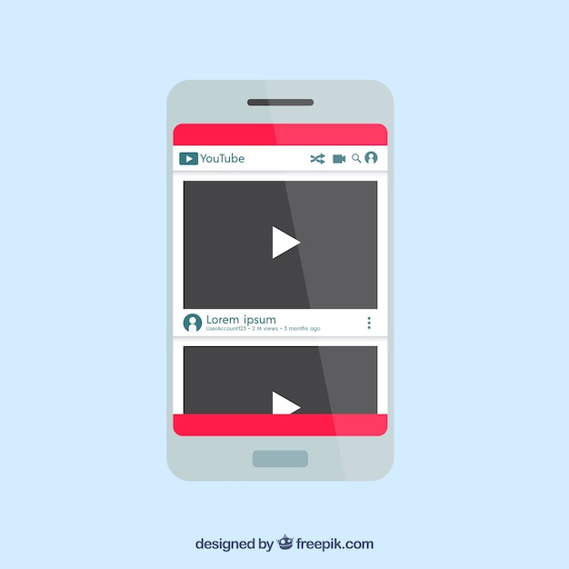 Youtube player in device with flat design Free Vector