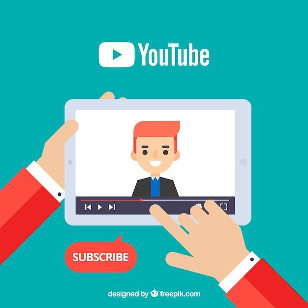 Lettore youtube nel dispositivo con design piatto Vettore gratuito