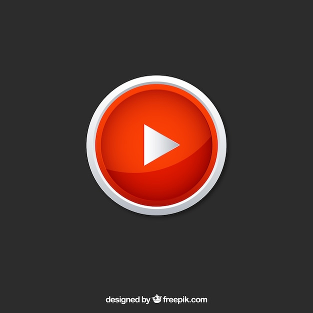 Youtube player icon with flat design Free Vector