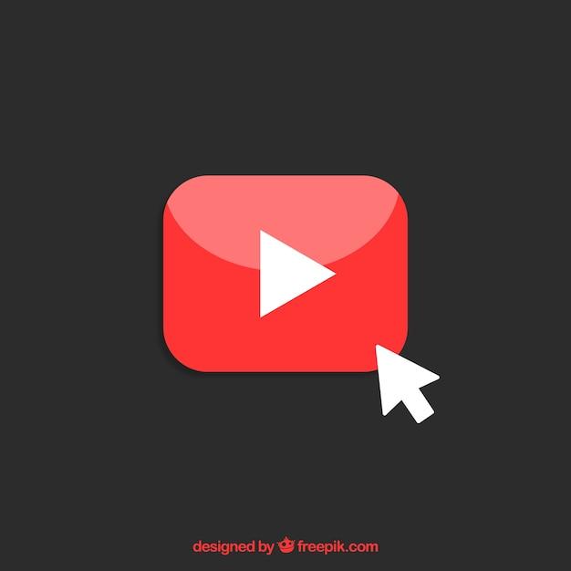 평면 디자인의 유튜브 플레이어 아이콘 프리미엄 벡터