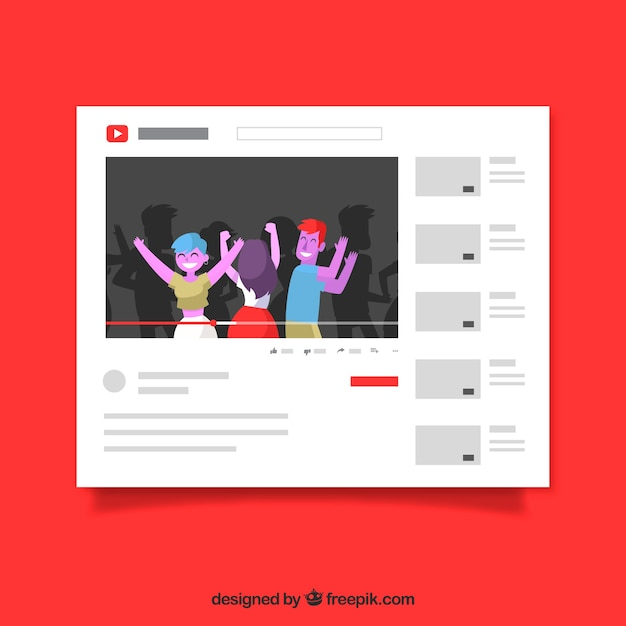 Youtube player with flat design Free Vector