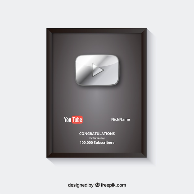 Youtube prize for subscribers with flat design Free Vector