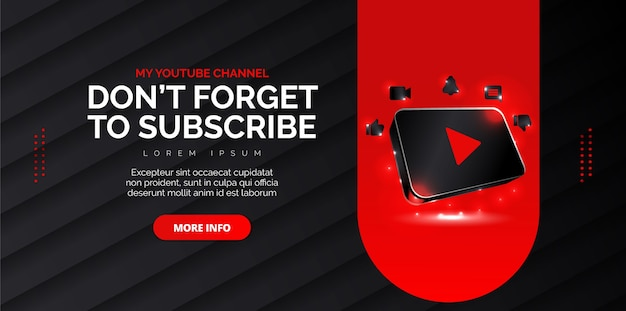 Youtube social media design with black background Premium Vector