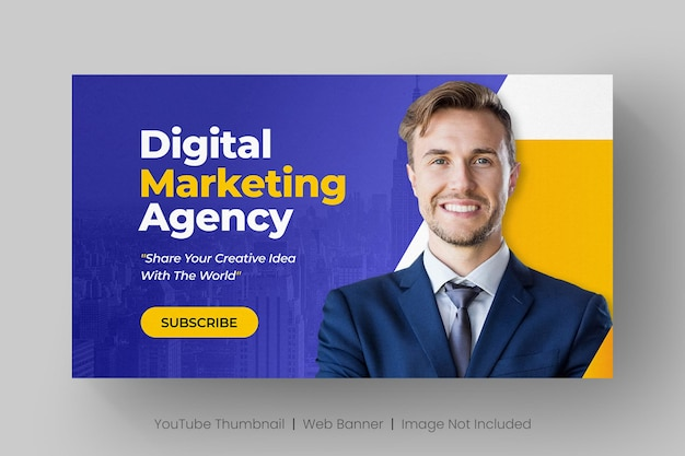 Youtube thumbnail and web banner template for digital marketing live workshop Premium Vector