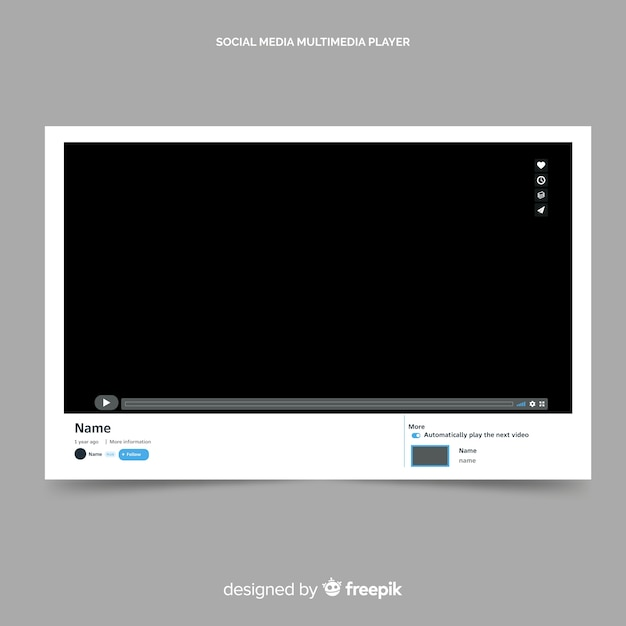 Youtube video player template vectorized Vector | Free Download