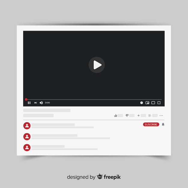Youtube video player template vectorized Free Vector