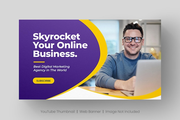Youtube video thumbnail and web banner template for digital marketing business Premium Vector