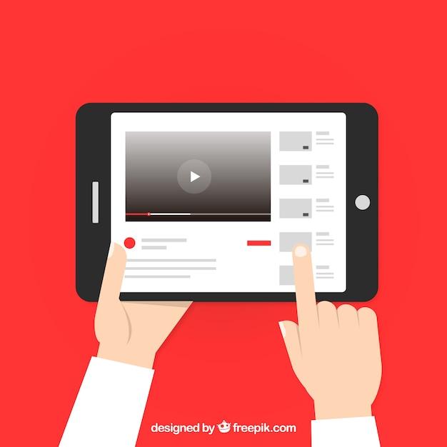 Youtube плеер в устройстве с плоским дизайном Бесплатные векторы