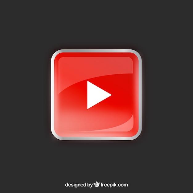 Значок проигрывателя youtube с плоским дизайном Бесплатные векторы