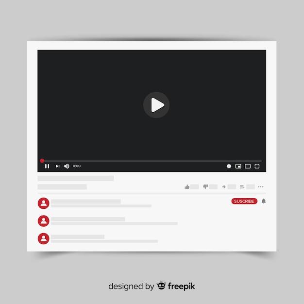 Youtubeのビデオプレーヤーテンプレートベクトル化 無料ベクター