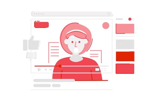 Youtubeのソーシャルメディアプラットフォームのイラスト ベクター画像