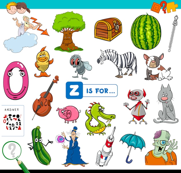 Z is for educational game for children Premium Vector