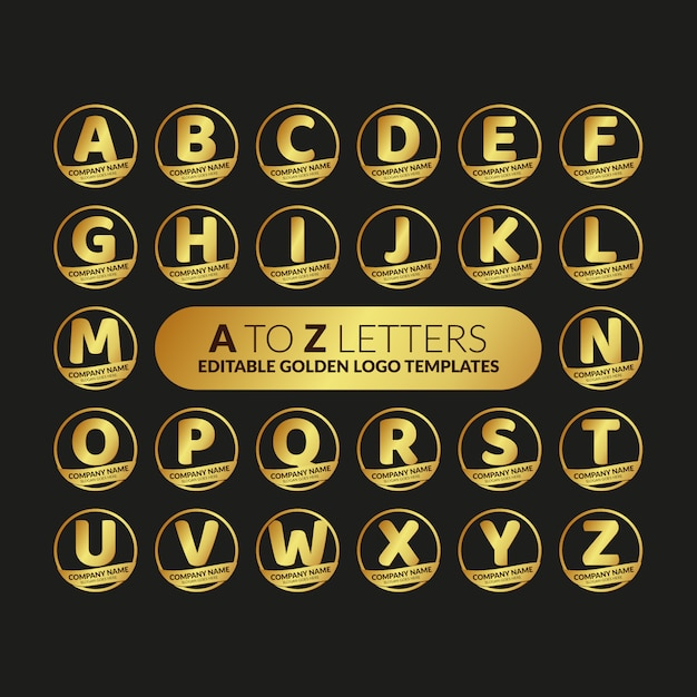 A to z letters editable golden logo templates collection