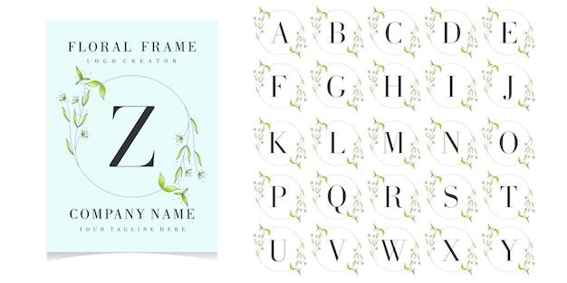 花のフレームと文字zロゴ Premiumベクター