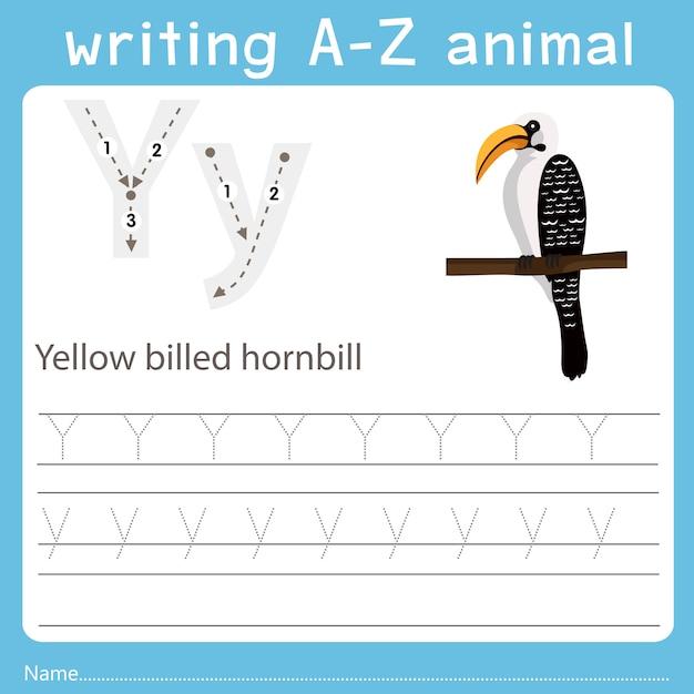 黄色請求サイチョウのz動物を書くのイラストレーター Premiumベクター