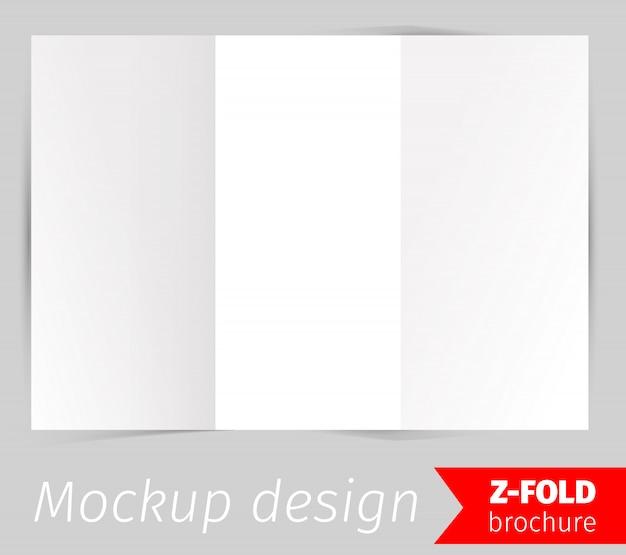 Z折りパンフレットモックアップデザイン 無料ベクター