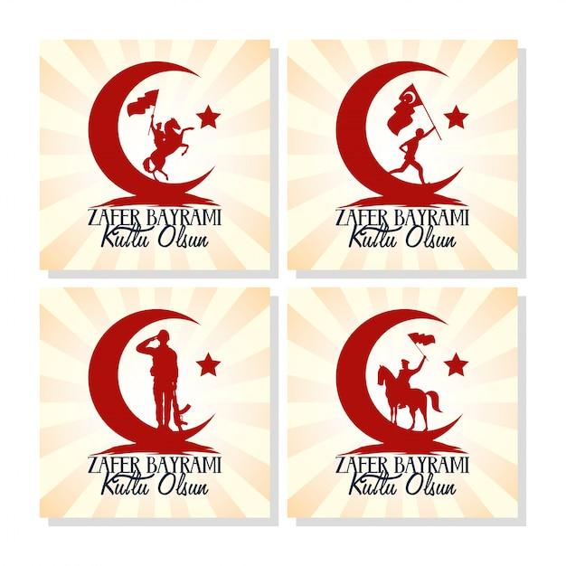 Zafer bayrami celebration card with set icons Premium Vector