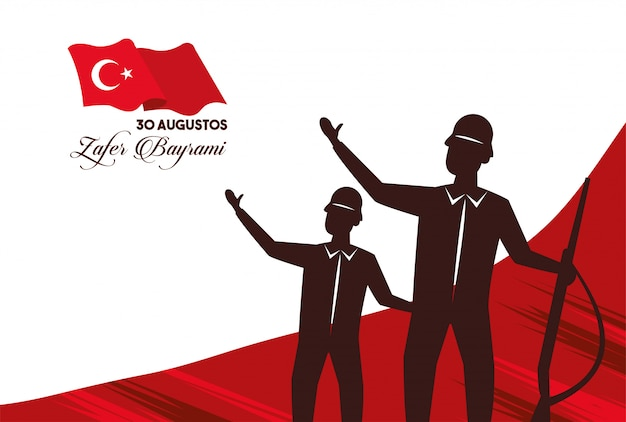Zafer bayrami celebration with soldiers figures and rifles vector illustration design Premium Vector