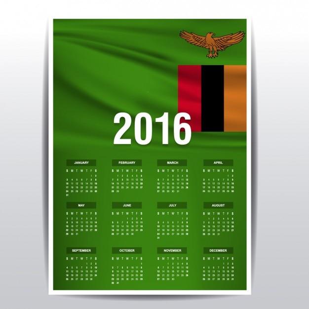 Calendar Zambia : Zambia calendar of vector free download