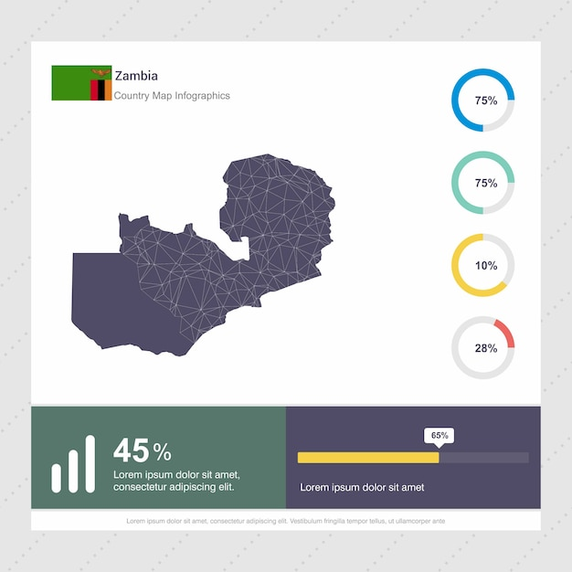 Zambian Map Vector.Zambia Map Flag Infographics Template Vector Premium