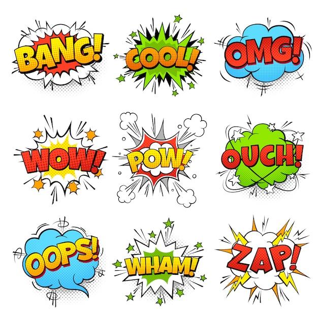 コミックの言葉。 zap pow wtfブームテキストと漫画の吹き出し。コミックポップアートバルーンセット Premiumベクター