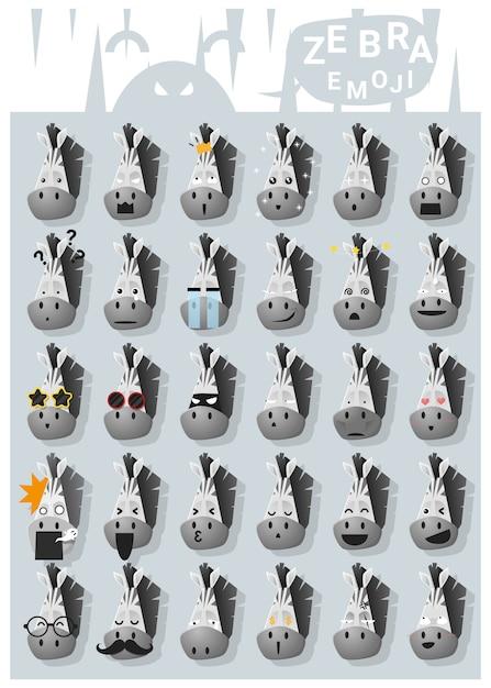 Zebra emoji icons Premium Vector