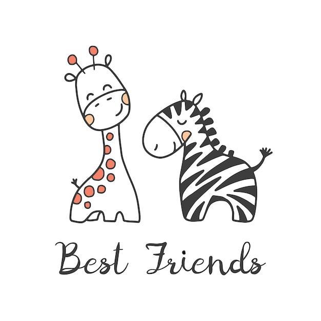 Zebra and giraffe, vector illustration Premium Vector