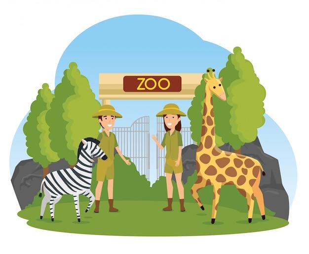 Zebra and giraffe wild animals with safari people Free Vector