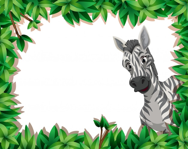 Zebra in nature frame with copyspace Free Vector