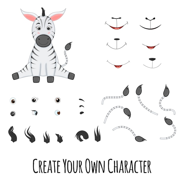 Zebra who sits and spare parts for it Premium Vector