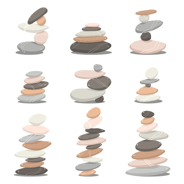 Zen stones cartoon set isolated on a white background Premium Vector